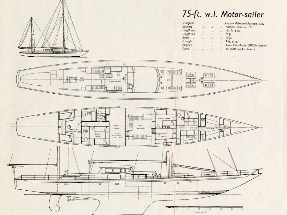 Lines Drawing Naval Architecture : S y blue leopard laurent giles naval architects ltd