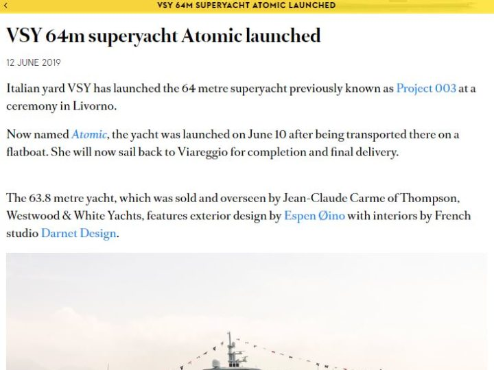VSY 64m superyacht Atomic launched